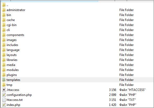 Иерархия файлов джумлы