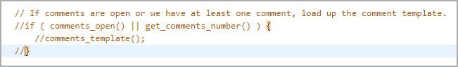 Пример отключения кода