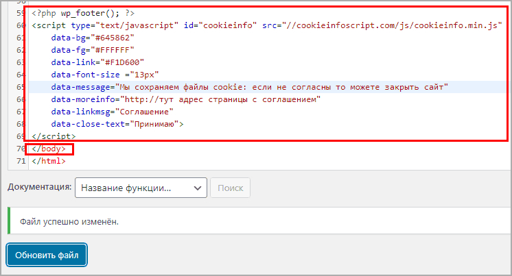 вставка скрипта в footer.php