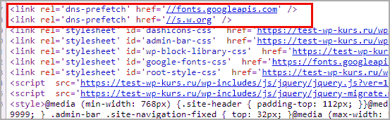 Стройки dns-perfetch в коде сайта